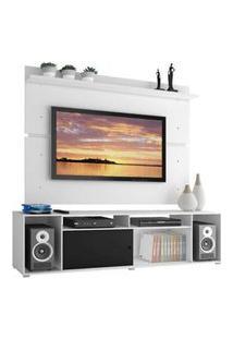 Rack Madesa Cancun E Painel Para Tv Até 65 Polegadas Branco/Branco/Preto Preto