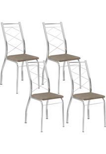 Cadeira 1710 Cromada 04 Unidades Camurça Conhaque Carraro
