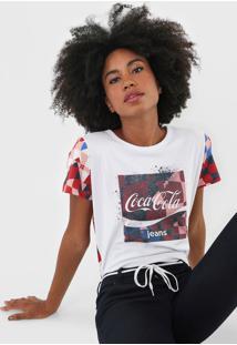 Camiseta Coca-Cola Jeans Geométrica Branca