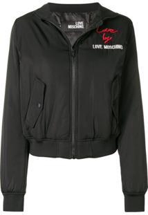 Love Moschino Jaqueta Bomber Com Logo - Preto 31803044f5157