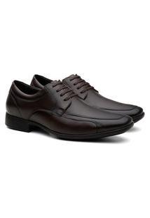 Sapato Social Masculino Couro Bico Fino Cadarço Conforto Marrom