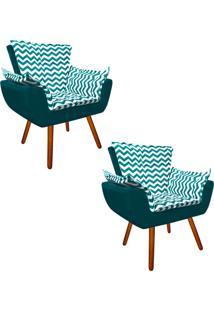 Kit 02 Poltrona Decorativa Opala Suede Composê Estampado Zig Zag Verde Tiffany D78 E Suede Azul Pavão - D'Rossi