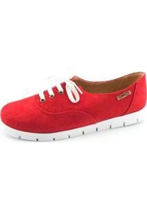 Oxford Tratorado Quality Shoes Camurça Feminino - Feminino-Vermelho