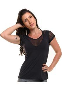 Blusa Com Proteção Solar Sandy Fitness Fluid - Feminino - Feminino-Preto