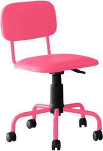 Cadeira De Escritório Secretária Giratória Color Pistão A Gás Corano Rosa