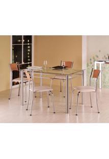 Conjunto De Mesa 1,2 M Com 4 Cadeiras - Tampo Em Vidro - Aço Cromado