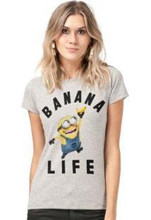 Camiseta Bandup! Minions Banana Life - Feminino-Mescla