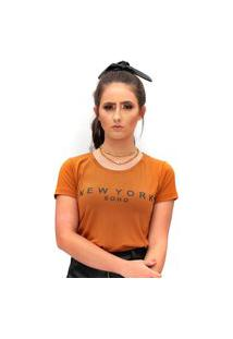 Camiseta Miss Glamour Store New York Suede