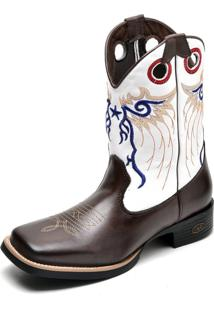 Bota Country Masculina Bico Quadrado Top Franca Shoes Cafe / Branco