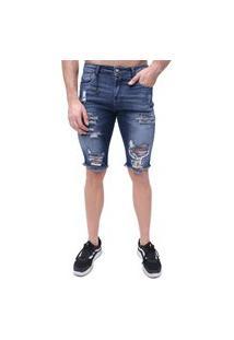 Bermuda Rock&Soda Jeans Masculina Destroyed Skinny Estilo