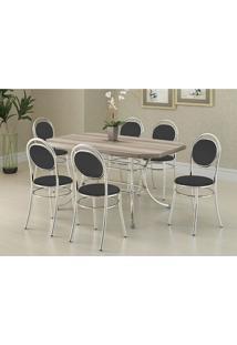 Conjunto Mesa 1507 Nogueira Cromada Com 6 Cadeiras 190 Preta Carraro