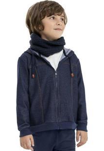 Jaqueta Infantil Em Moletom Indigo Azul