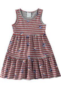 Vestido Evasê Com Strass Infantil Malwee Kids Cinza Claro - G