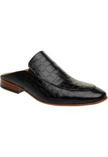 Sapato Couro Malbork Slipper Mule Croco Masculino - Masculino-Preto