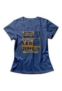 Camiseta Feminina Led Zeppelin In Concert Azul