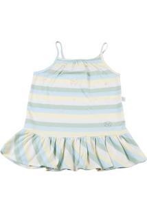 Vestido Infantil Meia Malha Listrada Az Perolas - Verde 2