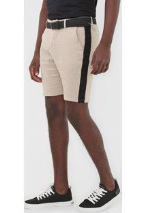 Bermuda Linho Calvin Klein Jeans Chino Faixas Laterais Bege