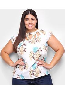 Blusa Lemise Plus Size Floral Guipir Feminina - Feminino-Branco