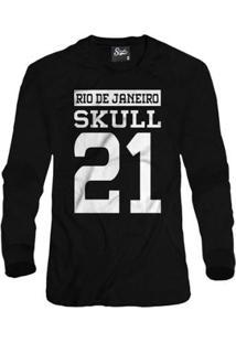 Casaco Moletom Skull Clothing Rj 21 Masculino - Masculino-Preto
