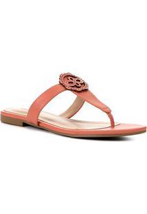 Rasteira Couro Shoestock Laser - Feminino-Coral