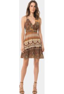 Vestido Com Alças Evasê Estampa Hamsa - Lez A Lez