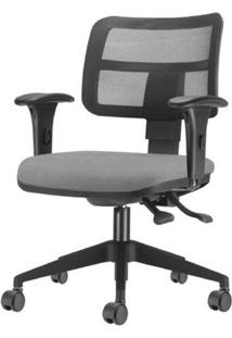 Cadeira Zip Tela Assento Courino Cinza Base Rodizio Piramidal Em Nylon - 54415 Sun House