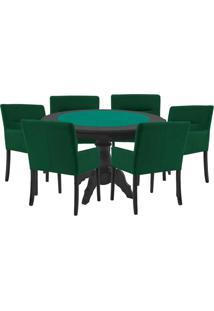 Mesa De Jogos Carteado Redonda Montreal Tampo Reversível Preto Com 6 Cadeiras Vicenza Verde - Gran Belo