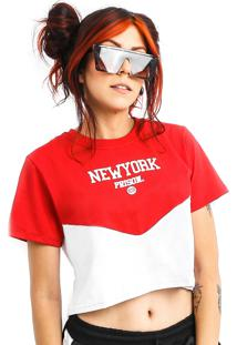 Camiseta Cropped Prison New York Sunset Vermelha Feminina