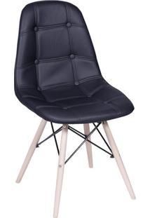 Cadeira Eames Botonãª- Preta & Madeira- 83X44X39Cm