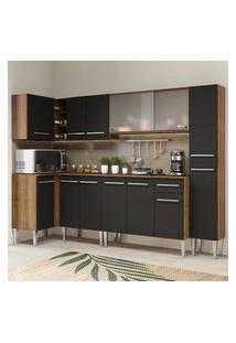 Cozinha Completa De Canto Madesa Emilly Space Com Armário Vidro Miniboreal, Balcáo E Paneleiro Marrom