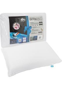 Travesseiro Fibrasca Extravisco Toque De Rosas 50X70Cm Branco.