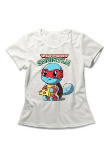 Camiseta Feminina Squirtle Ninja Off-White