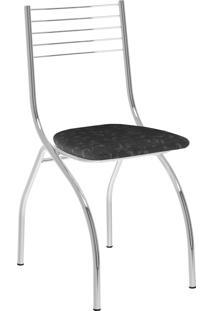Kit 2 Cadeiras 146 Tecil Fantasia Móveis Carraro Preto