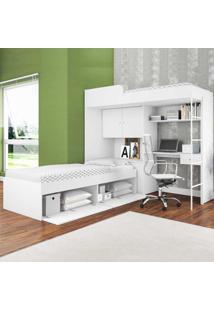 Beliche Com Cama Alta E Cama Tókio Branco - Art In Móveis