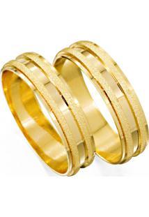 Aliança De Ouro Reta Lisa Com Relevo Fosco - As1214