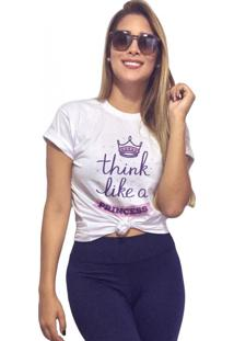 Camiseta Feminina Joss Think Like A Princess Branco