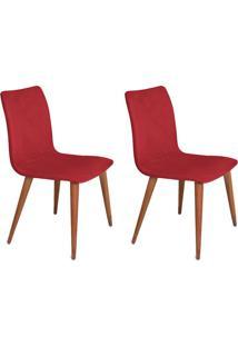 Conjunto Com 2 Cadeiras Luanda Veludo Vermelho
