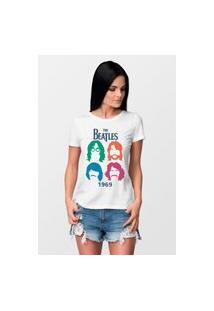 Camiseta Feminina Mirat The Beatles Branca