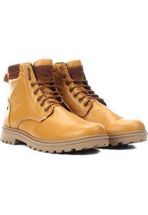Bota Couro Fly Walk Tratorada Masculina - Masculino-Amarelo