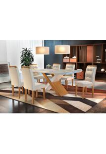 Conjunto De Mesa De Jantar Com Vidro E 6 Cadeiras Imperatriz Veludo Creme E Off White