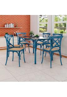 Conjunto De Mesa De Jantar Com 6 Cadeiras E Tampo De Vidro Katrina Azul