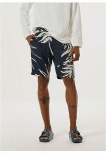 Bermuda Slim Em Tecido De Linho Estampada - Ktyu1Esi4 Masculina - Masculino-Azul