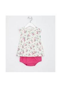 Vestido Infantil Floral Com Frufru E Calcinha - Tam 0 A 18 Meses | Teddy Boom (0 A 18 Meses) | Branco | 12-18M