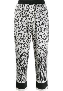 Pinko Calça Esportiva Cropped Com Estampa De Leopardo - Neutro