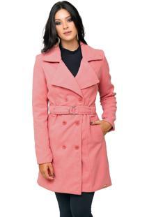 d7d307201 Casaco Trench Coat Madame De Lã Batida Rosa