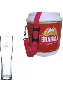 Cooler Térmico Brahma Brasil 20 Litros + Copo De Cerveja Madson Patagonia 500 Ml