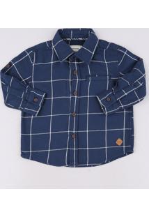 Camisa Infantil Estampada Quadriculada Com Bolso Manga Longa Azul Marinho