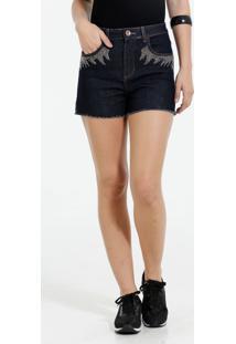 Short Feminino Jeans Strass Marisa