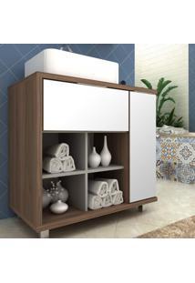 Gabinete Para Banheiro 1 Porta E 1 Basculante Móveis Bosi Nogal Malaga/Argento