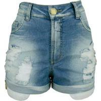 9f23e210b Shorts Jeans Knt Cos Alto - Feminino-Azul